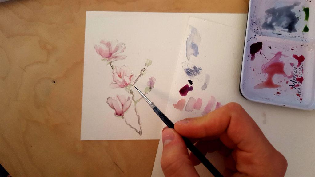 Aqurelle-Blumen-Postkarte