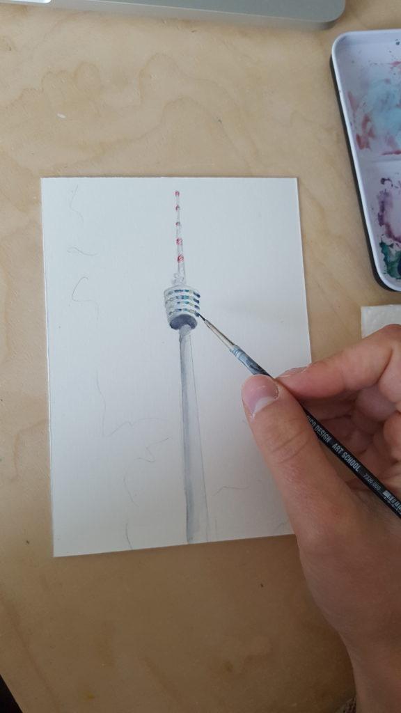 fernsehturm stuttgart aquarelle handgemat