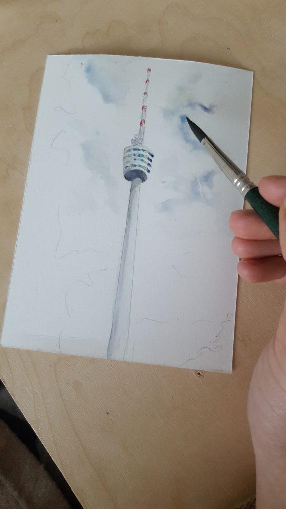 fernsehturm stuttgart bild souvenir unikat