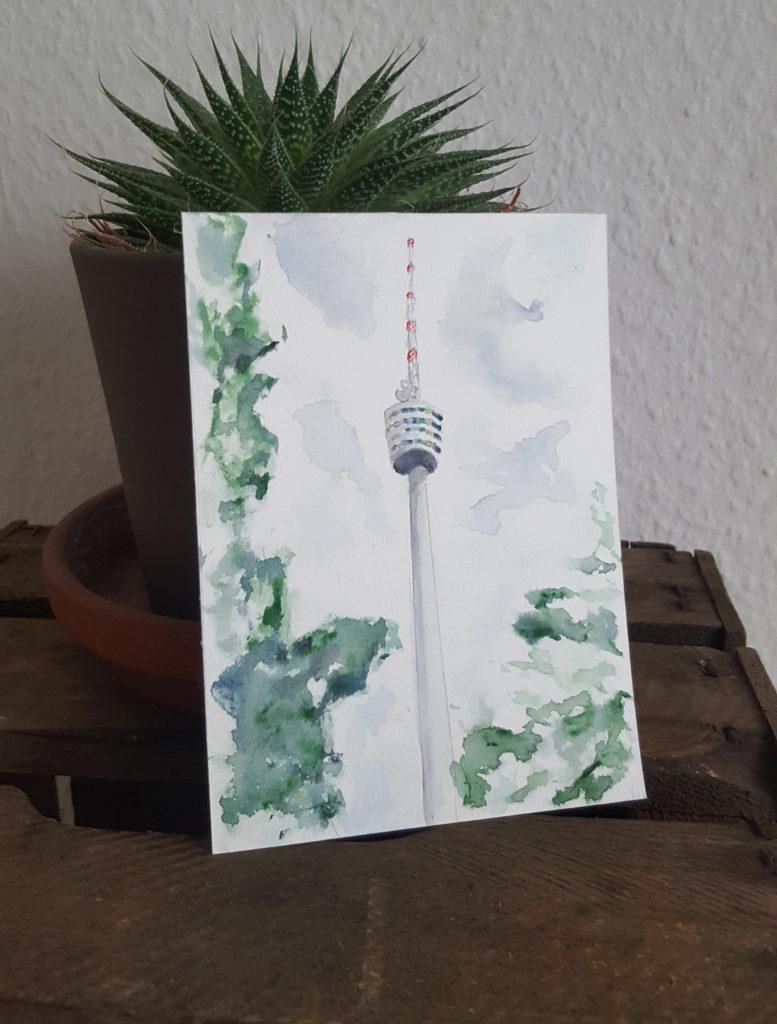 fernsehturm stuttgart kunst unikat. das perfekte geschenk