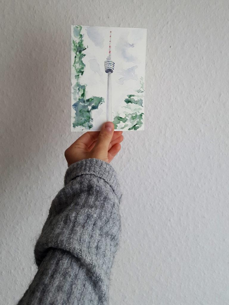 fernsehturm stuttgar ein kunstunikat das perfekte geschenk als andenken