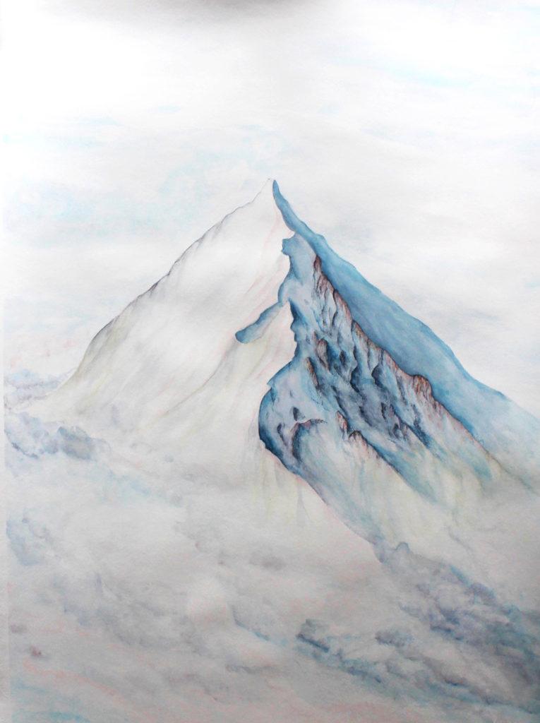 schneeberg beim sonnenuntergang. ein großformatiges kunstwerk 130x100cm