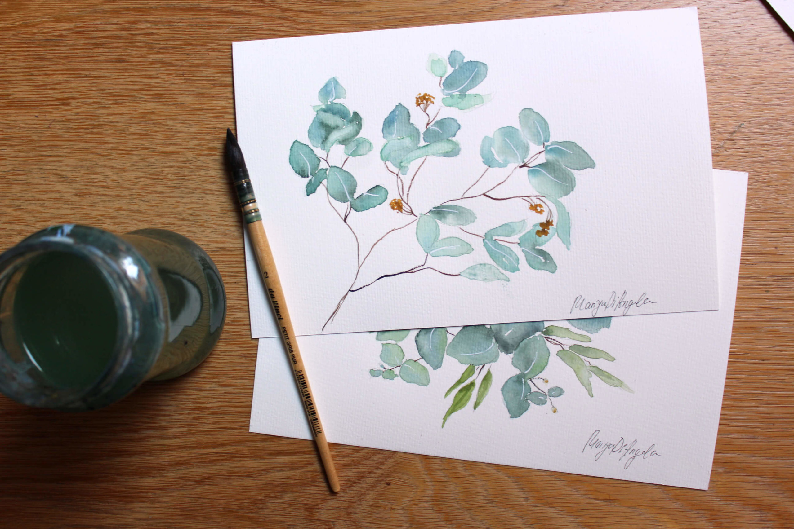 Aquarell malen lernen: Videoanleitung Eukalyptuszweig