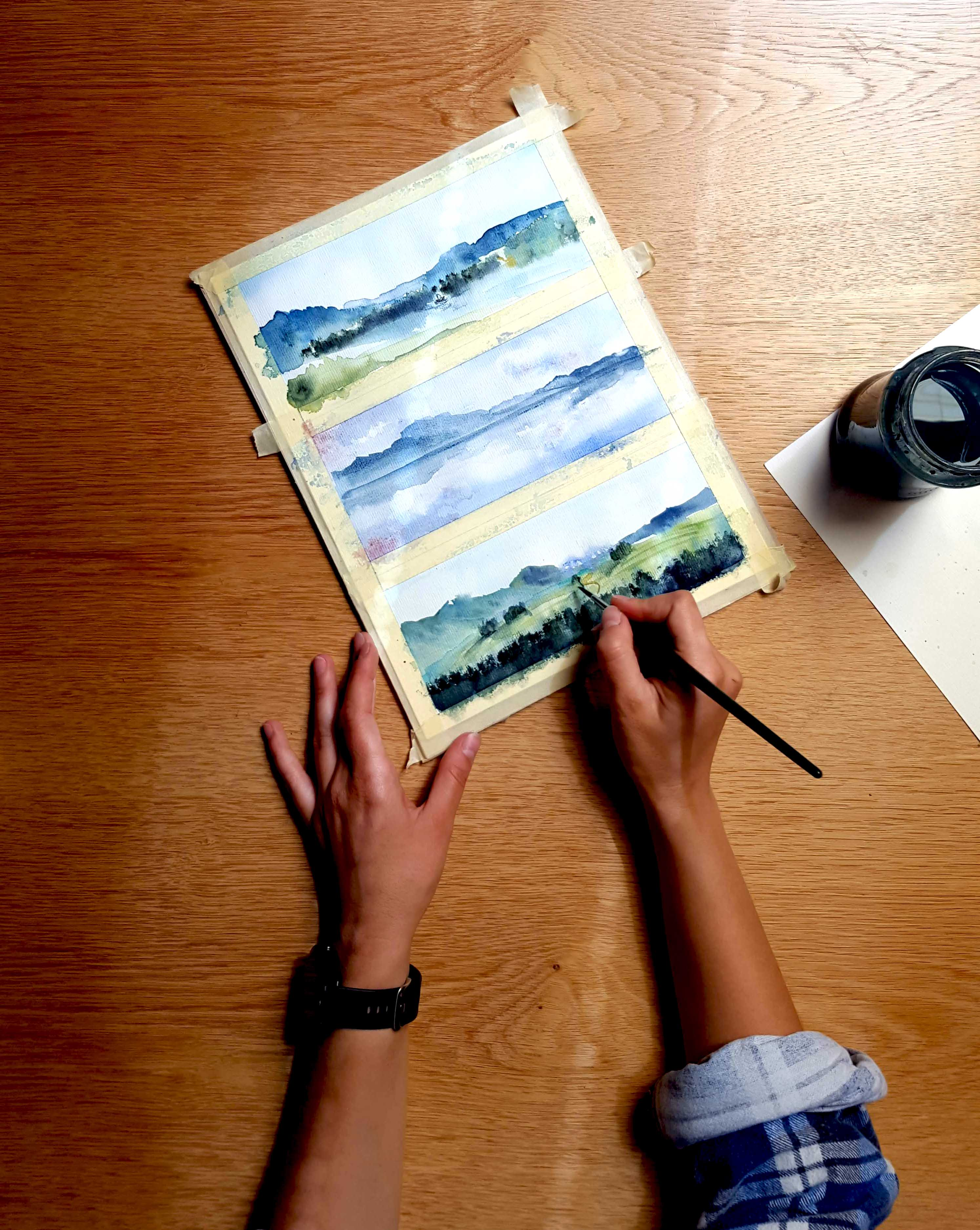 How to Paint Mountains and Lakes in Watercolor - Time Lapse