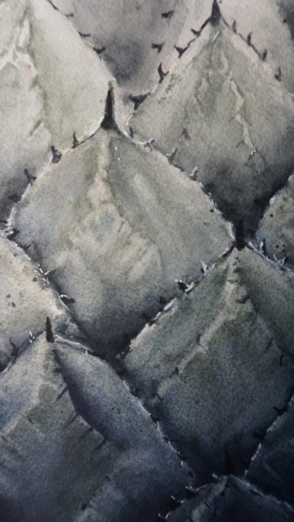 Aquarell-Kunstwerk-Detaills-Auftragsarbeit-Pflanze
