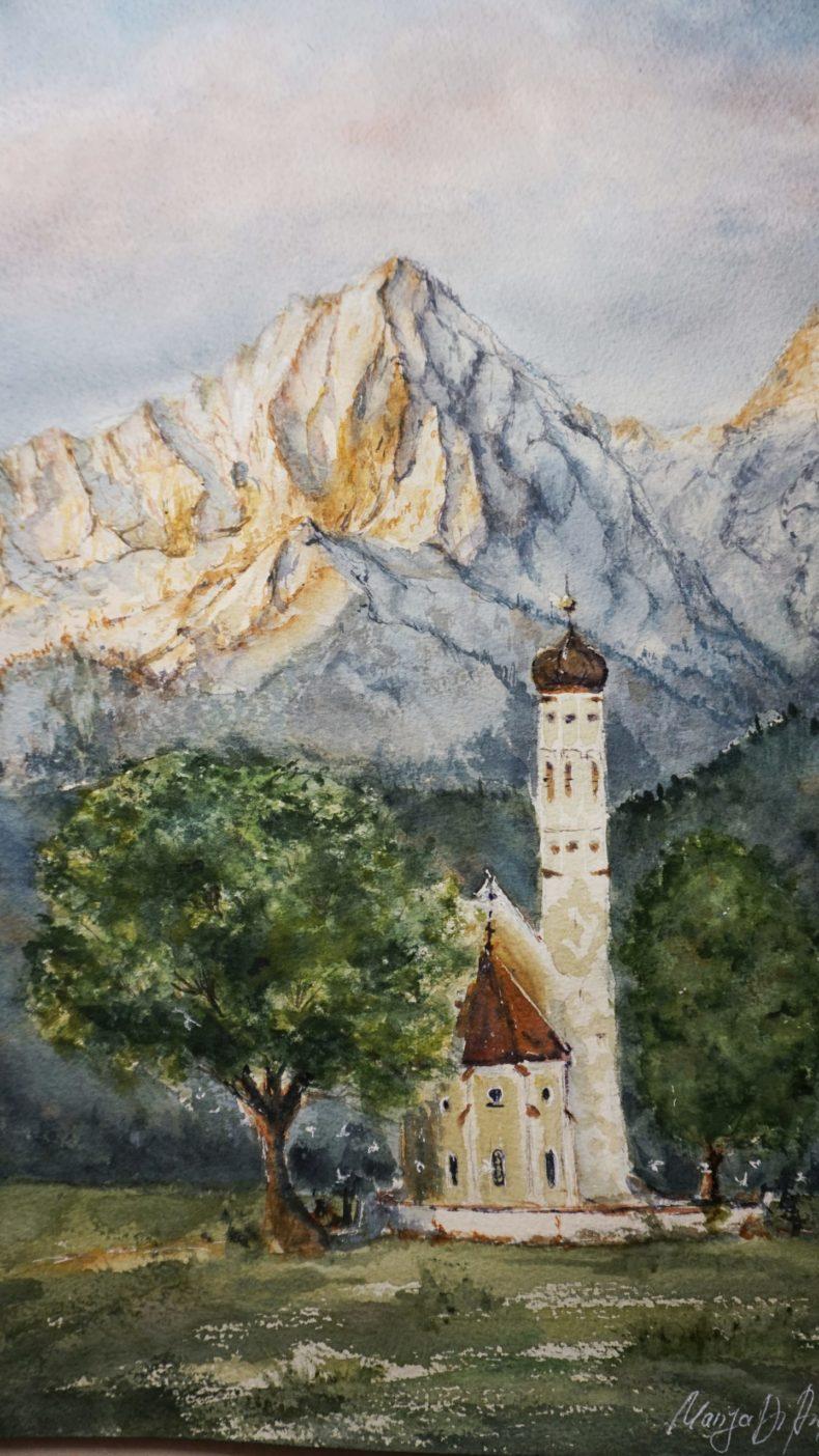 Aquarell Schloss Neuschwanstein Alpen Landschaft