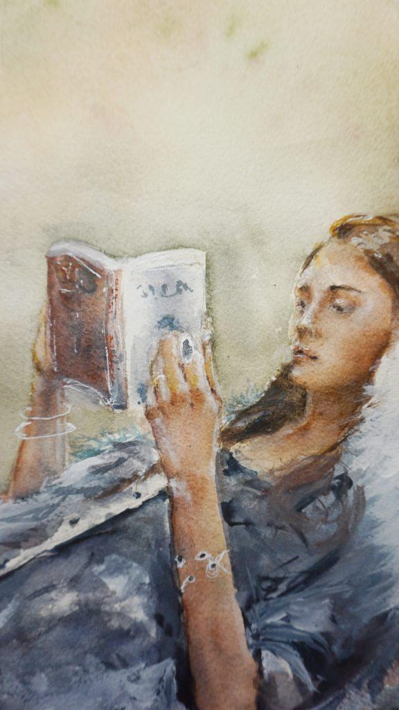 Aquarell  Portrait Frau mit Buch