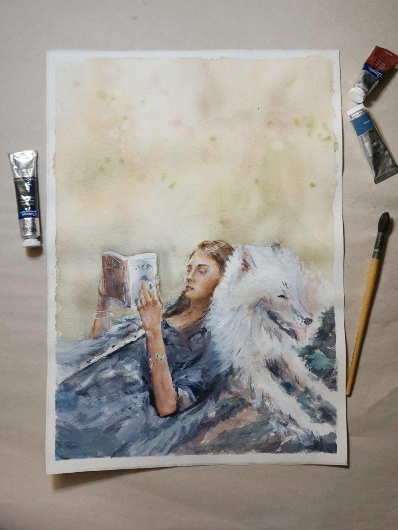 Aquarell Kunstwerk Frau liest Buch mit Hund auf einer Wiese