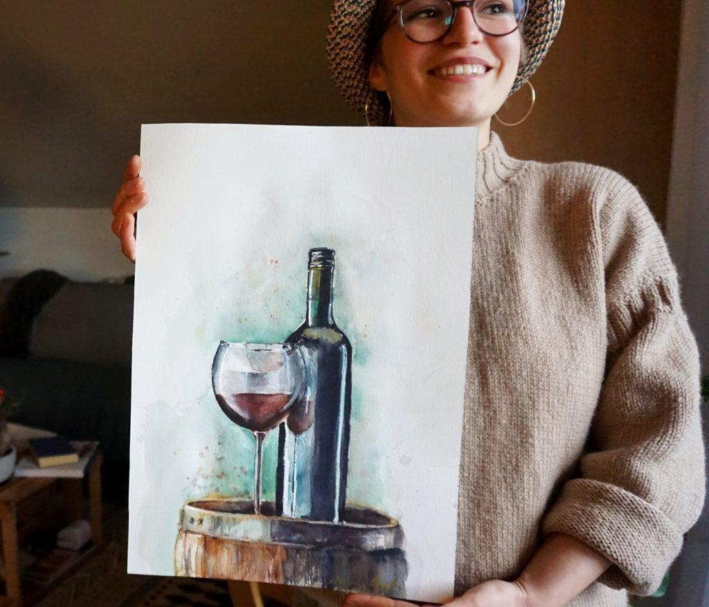 Aquarell Kunstwerk Rotwein