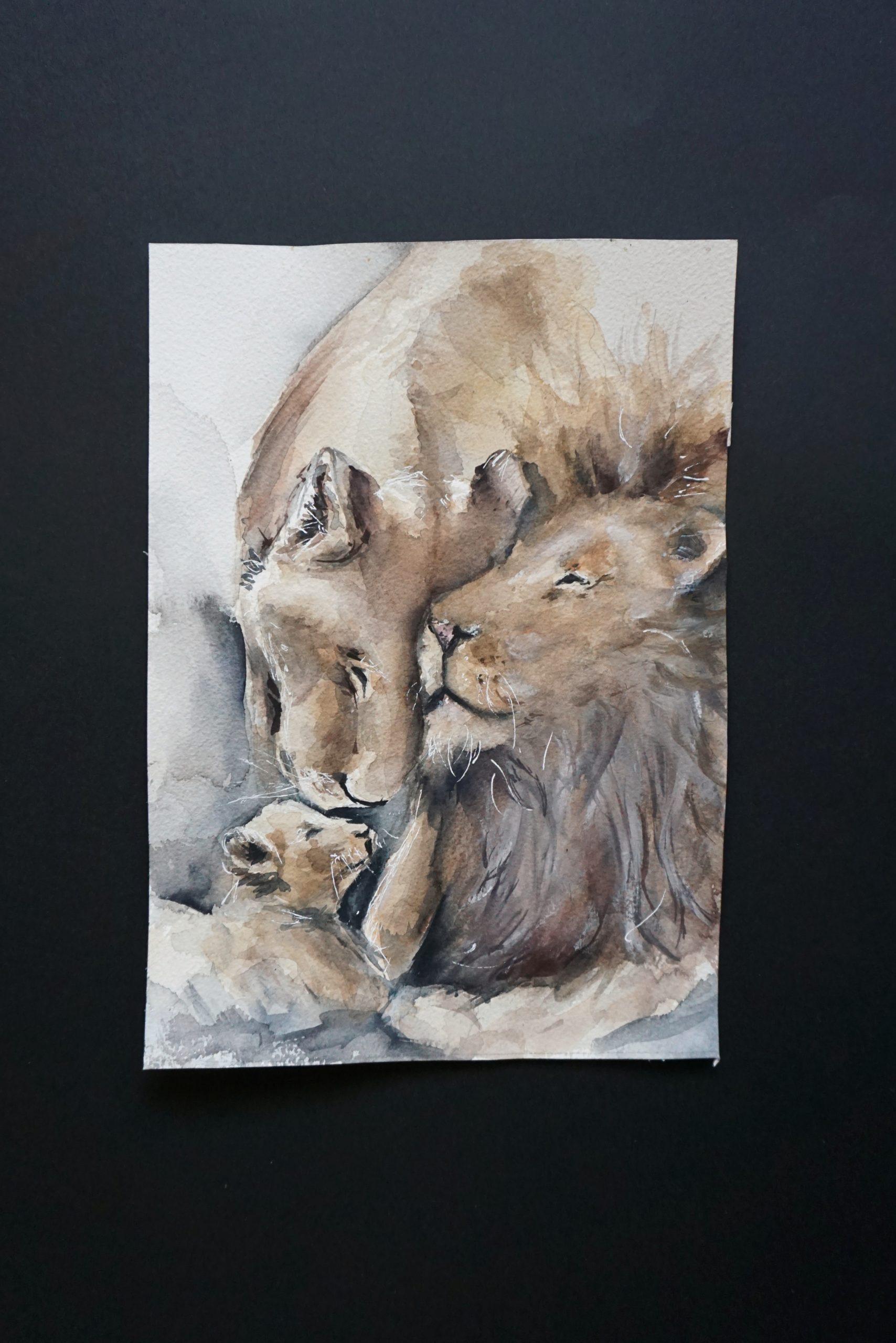 Aquarell Bild Löwenfamilie