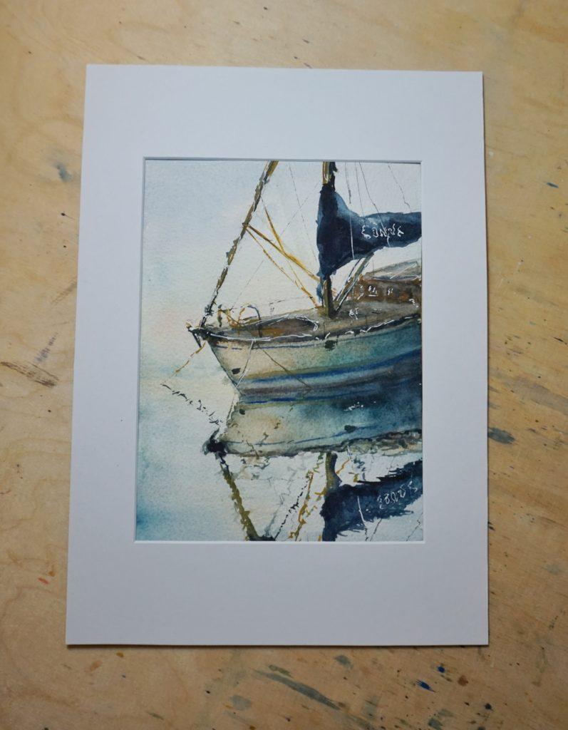 Aquarelle Segelschiff