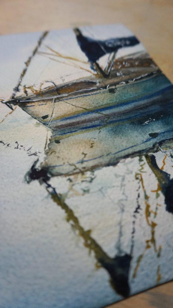 Aquarell Kunstwerk Segelbot Reflexion