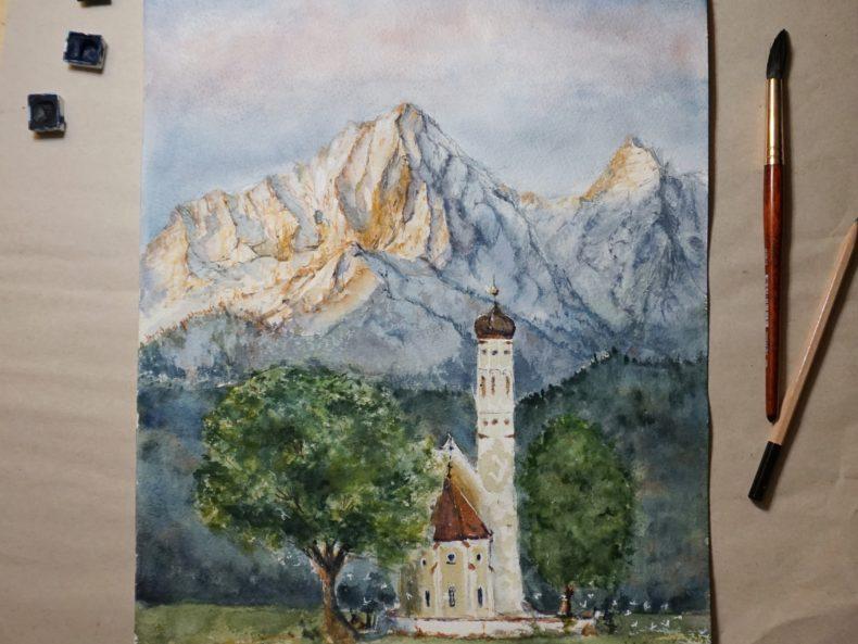 Aquarell Berge Lanschaftsmalerei Schloss Neuschwanstein